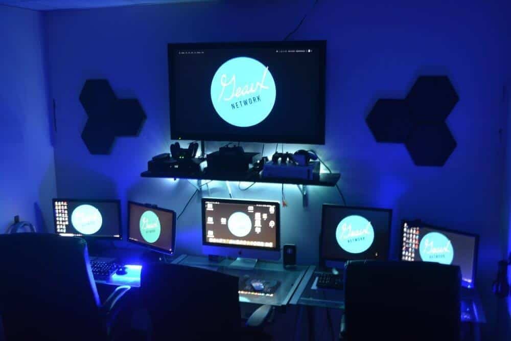 geaux network editing suite geaux network monitors screens blue lights