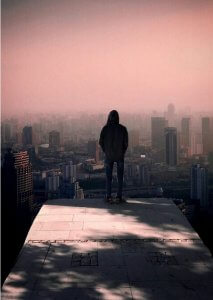 man on edge in city